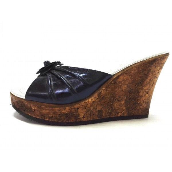 Scalzato sandalo Donna blu Zeppa85 Pelle sughero Made Italy Anatomico Confort