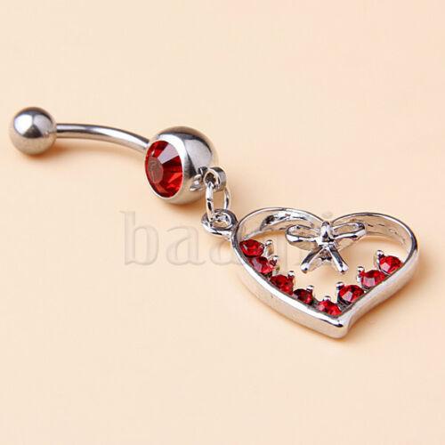 piercing nombril coeur noeud avec cristal rouge modele unique Belly Ring KK