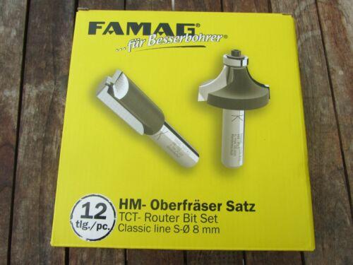Famag HM//HW-Oberfräser-Satz 12 teilig  in Metallbox Schaft 8 mm