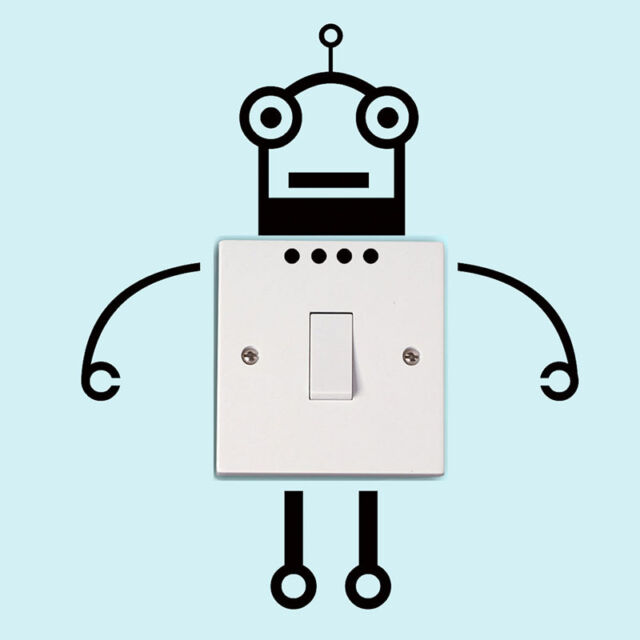 2 x Wall Sticker Home Decor Robot Shape Wall Art Removable Switch Notebook New