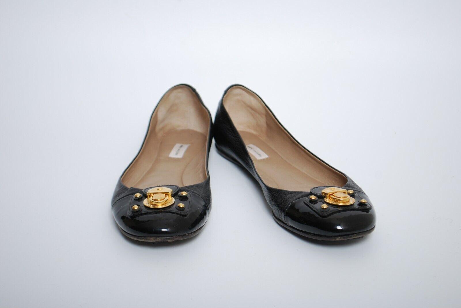 MARK JACOBS Kvinnors Slip on Round Toe Ballet Platts svart Leather Storlek 37