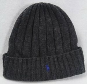 c74b8592ea1ac Polo Ralph Lauren Dark Grey Wool Cuff Beanie Hat Skull Blue Pony NWT ...