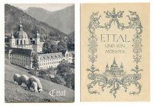 3 Kirchenführer Ettal, Kloster, um 1960 italienisch, deutsch, englisch + 2 AK