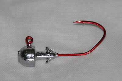 5 pk 3//4 oz Football Jig Heads #4//0 Red Sickle Hooks Bass