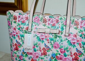 NWT-50-CANDIES-PVC-Faux-Leather-Lg-Tote-Bag-Shopper-Rose-Print