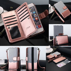 Leather-Removable-Wallet-Magnetic-Flip-Card-Case-Cover-F-iPhone-X-8-7-Galaxy-S8