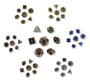 7-Polyedrische-Metall-Wuerfel-fuer-Rollen-und-Tabletopspiele-Pen-and-Paper