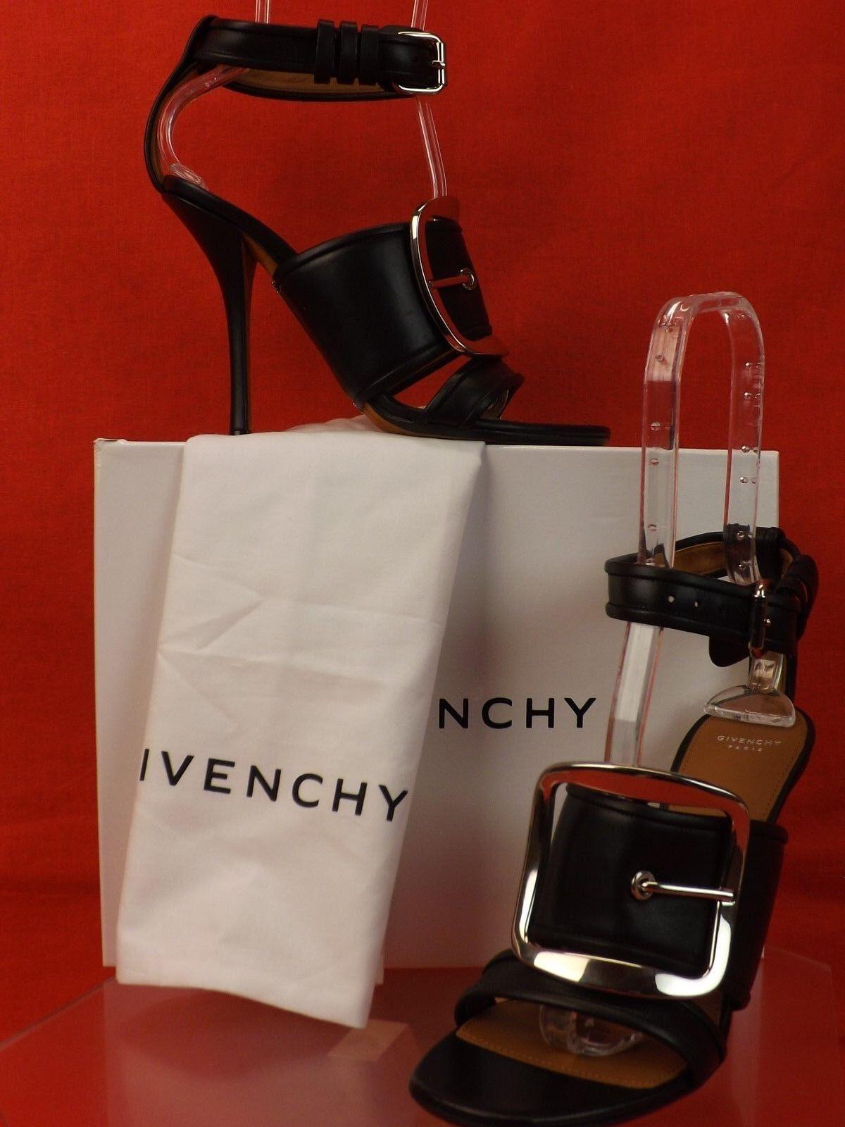 New in Box GIVENCHY Diana en Cuir Noir Ton Ton Ton Argent Boucle en Métal sandales 38 8f5f1b