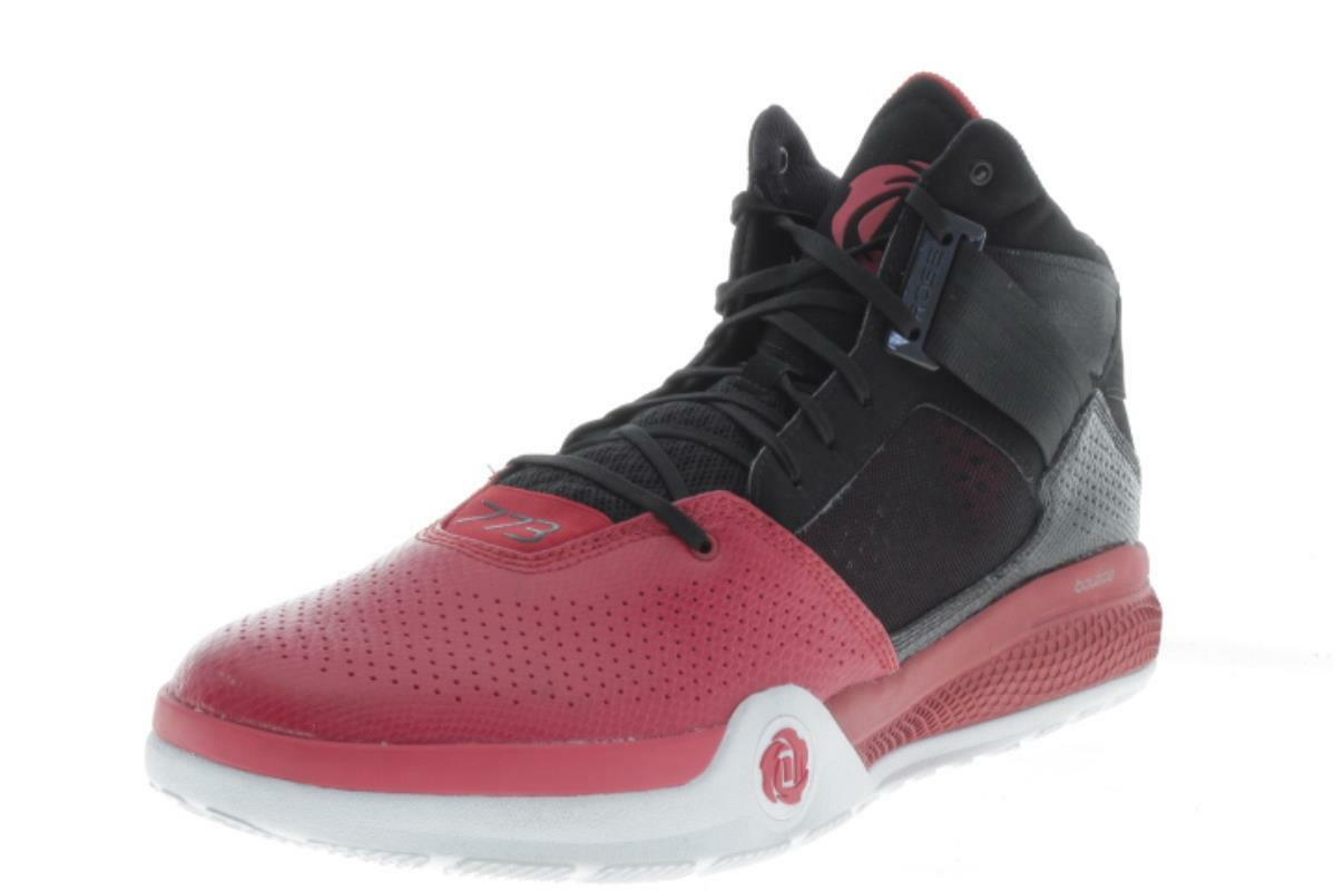 Mens Large Size  Adidas Derrick pink 773 Red Black Basketball shoes 18 M..393A