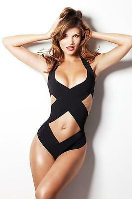 Herve Leger Black Cutout Swimsuit Bikini UK8 XS Dress New