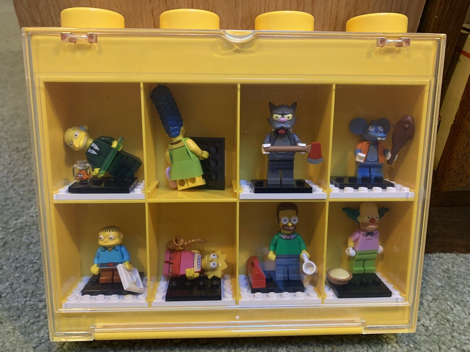 """2011 Big 8"""" LEGO SIMPSONS MINIFIGURES SET COMPLETE + Display Case Itchy Scratchy"""