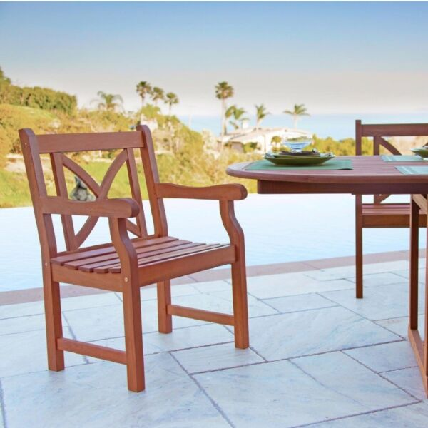 Outdoor Wood Arm Chair X-Back Design for sale online | eBay
