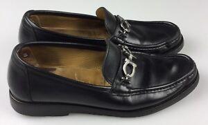 Salvatore-Ferragamo-Black-Italian-Leather-Moc-Loafer-Shoe-Horsebit-Mens-10-D