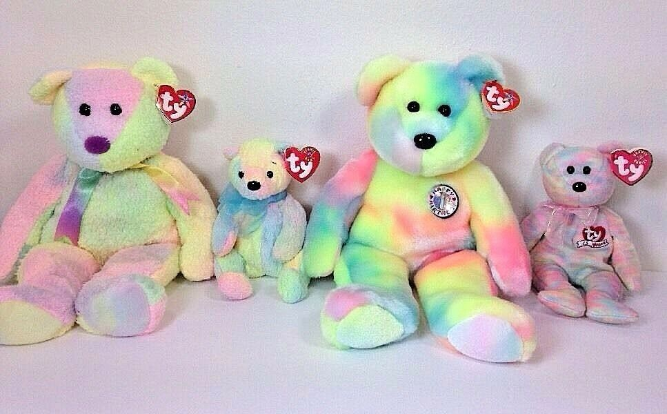 Ty Beanie Babies Rainbow Lot Tie Dyed Groovy Plush Collectible Toy Valentines Da
