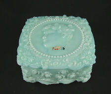 Fostoria Jenny Lind- Aqua Blue Milk Glass Handkerchief Box