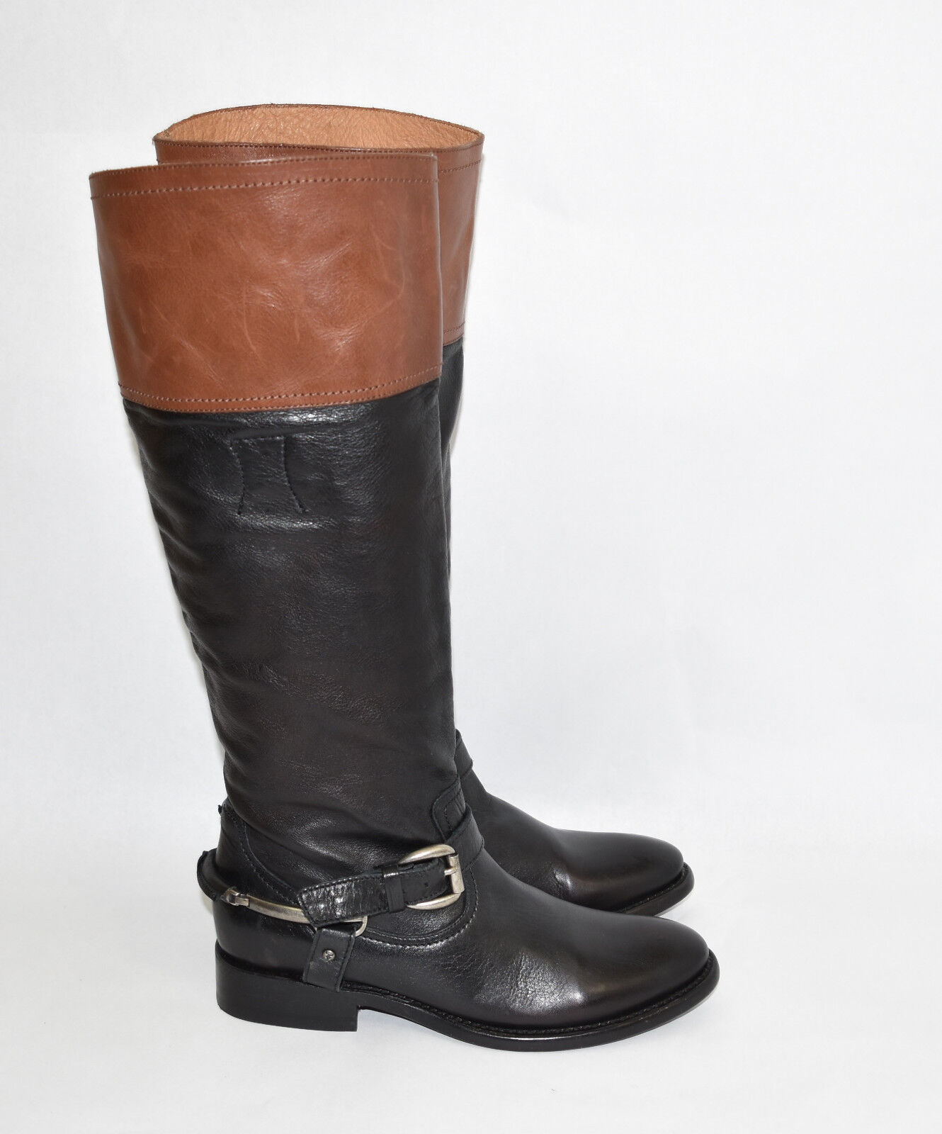 New! Trask 'Addison' Black Cognac Leather Riding Boot Size 7 M