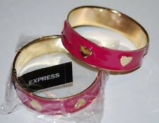 New Express Enamel Pink Heart Bracelet Gold Tone Bangle Hearts