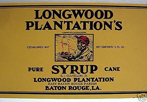 3 Longwood Plantation Black Syrup Label Baton Rouge La