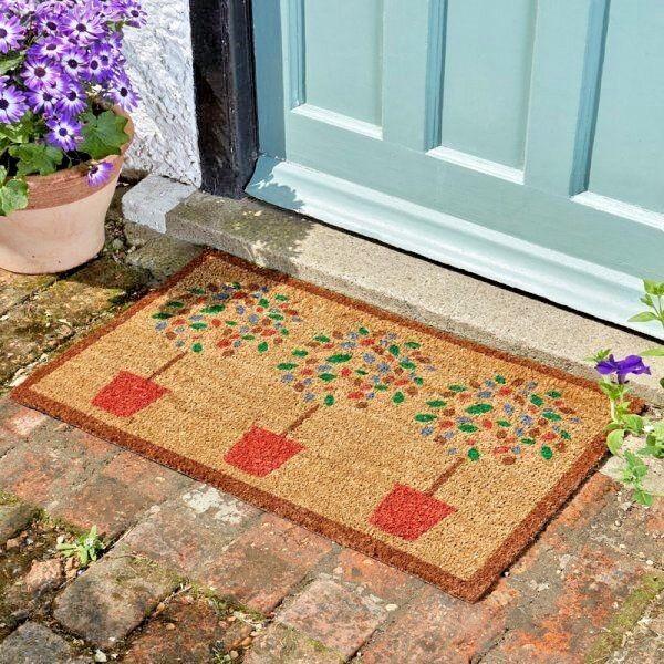 3 Bay Trees In Pots Anti Slip Natural Coir Mat Front Door Outdoor Welcome Mat