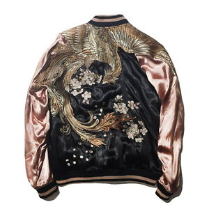 ff5fe5d47 Details about Japanese Mens Pattern Sukajan Souvenir Bomber Vermilion Bird  Embroidered Jacket