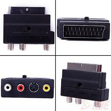 RGB SCART Male to Composite 3 RCA S-Video Audio TV Adapter VCR Euro Connector