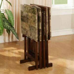 TV Dinner Tray Set Of 4 Faux Marble With Stand Wood Folding Living Room Table