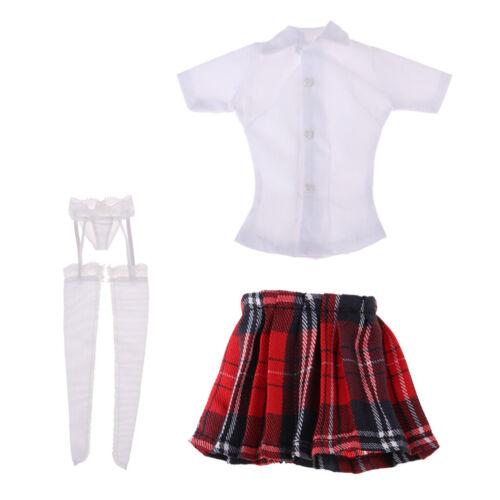 """1//6 White Shirt Skirt Garter Stockings For 12/"""" PHICEN TBL HT Action Figures"""