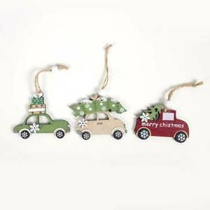 3Pcs Wooden Hanging Christmas Tree Cabin Elk Car Ornament hot Home Xmas Par Z7N0