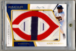 2017-Immaculate-Collection-KIRBY-PUCKETT-Game-Used-Jersey-LOGO-Patch-1-1-AMAZING