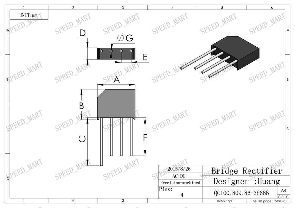 10 pcs KBL608 Bridge Rectifier Gleichrichter 800V AC change DC 6A KBL-608