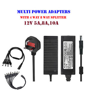 4//8 Way Power Splitter Cable CCTV Camera LED Strip Adapter 12V 5A Power Supply