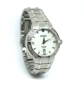Ladies-Swiss-CROTON-Mother-of-Pearl-CZ-Sapphire-Crystal-Stainless-Steel-Watch