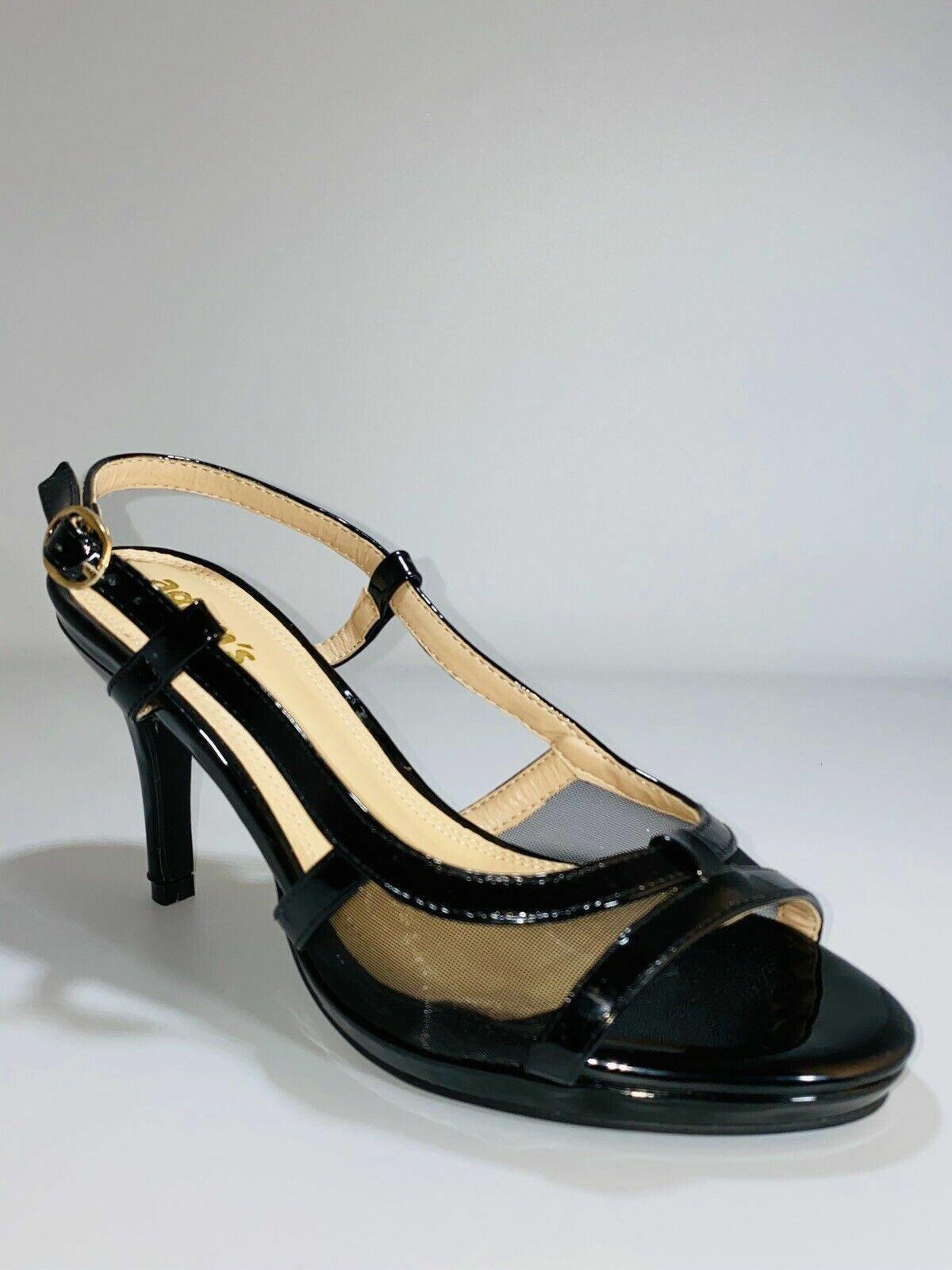 Adam's Women's Sandals Open Toe Patent & Mesh Strappy High Heels