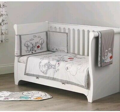 Disney Dumbo Cot And Cotbed Bedding 4 Tog Quilt Grey White Unisex Baby Nursery