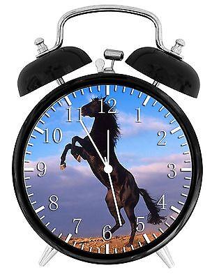 "Black Horse Alarm Desk Clock 3.75/"" Room Decor Y45 Nice for Gifts wake up"