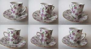 6-Vintage-Inarco-Demitasse-Cups-amp-Saucers-Violets-NOS-E-5872-Japan