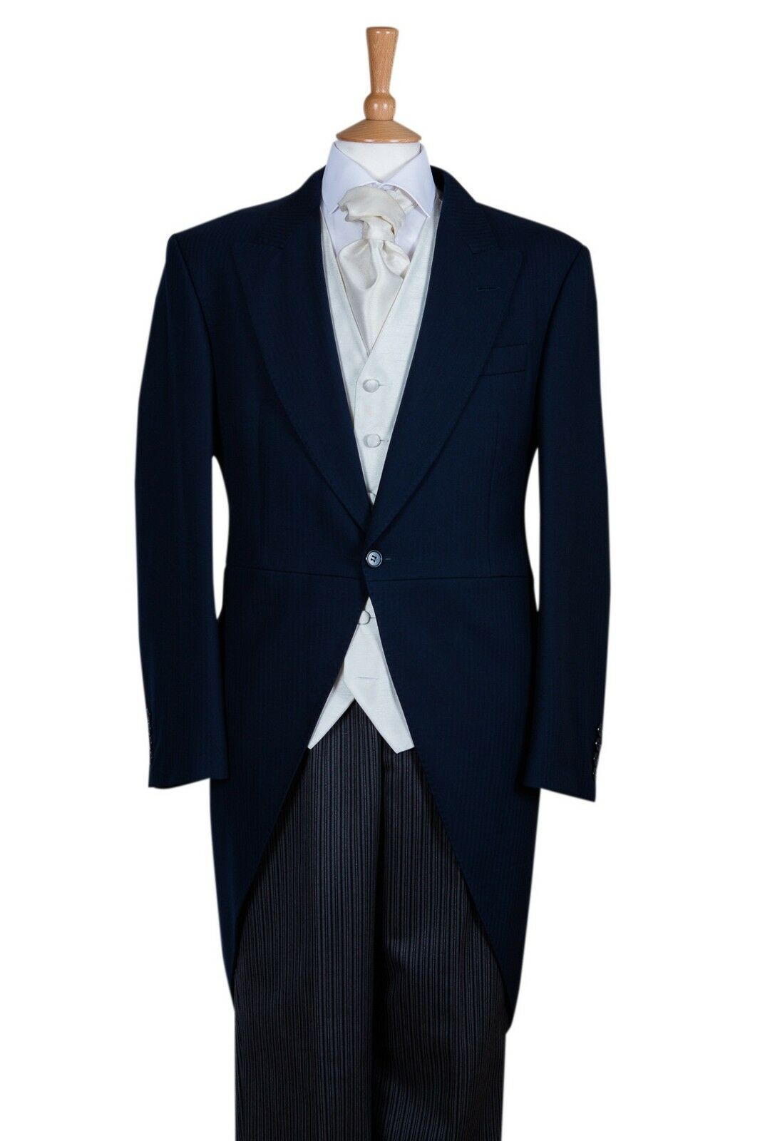 Three Peice navy bluee wool tailcoat Suit - Ex Hire