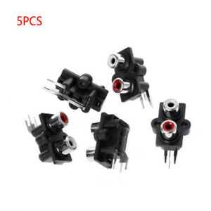 Red PCB Mount RCA AV Vertical Single Female Jack Socket Connector Audio Video