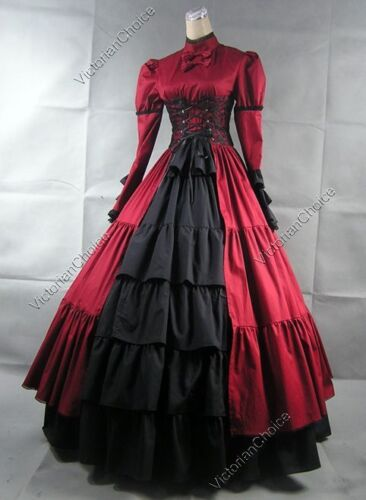 Victorian Steampunk Gothic Corset Dark Vampiress Dress Halloween Costume 068