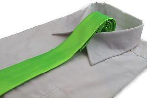 CHEAP-5CM-FLURO-GREEN-TIE-Necktie-Neck-Skinny-Ties-Wedding-Races-Bargain