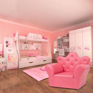Kids Sofa PVC Princess Mini Sofa Bright Rose Red with