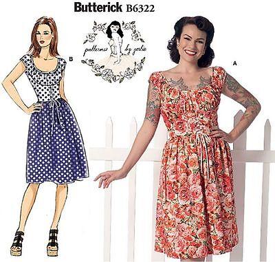 BUTTERICK PATTERN BY GERTIE B6322 VTG 50s INSPIRED Rocakabilly Casual DRESS 6-22