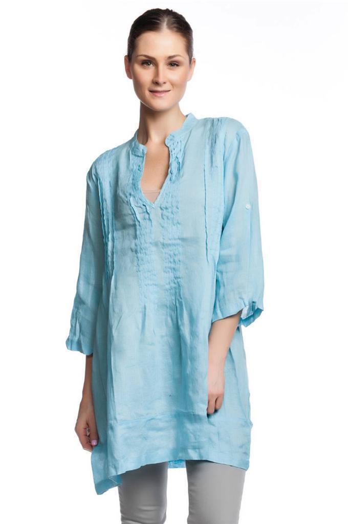 CP Shades Regina Tunic Capri Linen V-Neck tuck 3 4 length sleeves NEW Baby Blau