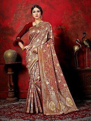 4306 Bollywood Saree /& Blouse Indian Sari  Maroon Woven Banarasi Art Silk