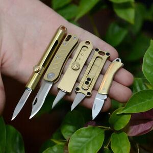 Brass-Mini-Little-Pocket-Knife-Portable-Keychain-Survival-Folding-Retractable