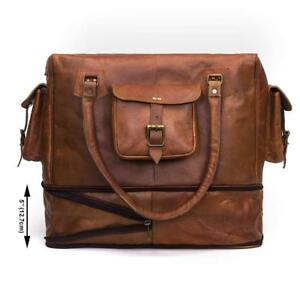 Bag-Leather-Travel-Duffle-Gym-Brown-Men-Luggage-Large-Holdall-Vintage-S-Weekend
