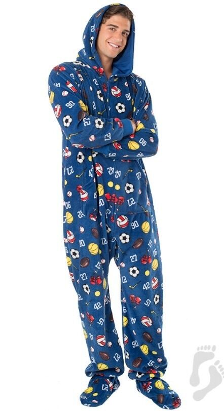 NWT Super Sports Adult Hoodie Hooded Footed Pajamas 1 PC MP W Fit Sizes 20 22W