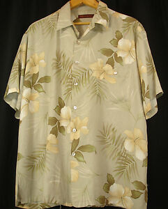 Tori-Richard-Shirt-XL-Green-Cream-Floral-Leaves-Hawaiian-Camp-Aloha-Viscose-USA