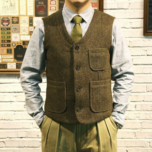 Men's Vintage Workwear Inspired Clothing   Red Tornado Rugged Gentleman Wool Tweed Vest Retro Mens Suit Waistcoat Green $79.99 AT vintagedancer.com