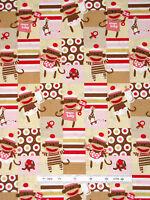 Sock Monkey Baby Fabric - Nursery Cute Monkeys Qt Zoe & Zack Girl Pink - Yard